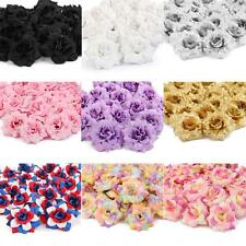 50x Silk Roses Artificial Bridal Clips Wedding Decoration Flower Heads 7 Colors