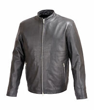 Mens Basic Leather Jacket Black Cafe' Racer Style FJ1