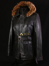 Beyonce Black (5788) Ladies Fur Hood Real Soft Lambskin Leather Hooded Jacket