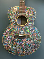 """Blueberry New """"John Lanthier"""" Handmade and Hand Painted Grand Concert Guitar"""
