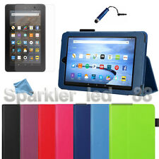 "2015 PU Leather Folio Case Cover Stand For Amazon 7"" Kindle Fire + Bundle"