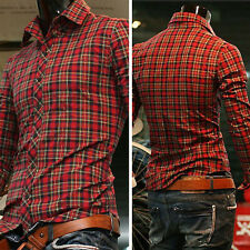 TOP DESIGNER Men's Slim Fit Long Sleeve Formal Dress Shirts Casual Plaid Shirts