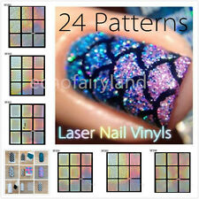 9 Tips Nail Vinyls Stencils Stickers Holo Holographic Nail Art Manicure Decals