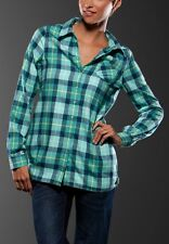 Women's Girls Oakley My Guy L/S Flannel Plaid Shirt Purple Green Size XS
