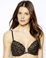 Gossard Luxury Lace Womens Sexy Underwired Moulded Padded Cups Plunge Black Bra