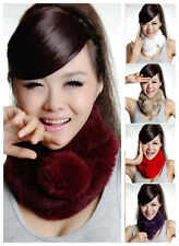 Winter Rabbit Fur Neck Warmer Knitted Lady Collar Scarf Shawl Wrap Stole Muffler