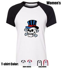 Funny Hat skull Design Girl's Ladys Cotton Novelty T-shirt Graphic Tee Tops