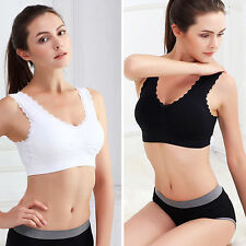 Sexy Womens Yoga Sports Bra  Lace Crop Padded Bras Top Stretchy Gym Vest M98
