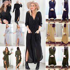Sexy Womens Long Sleeve Blouse Side Split Loose Cocktail Party Maxi Shirt Dress