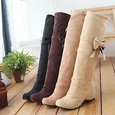 Womens New Faux Suede Bowknot Wedge Heel Knee High Boots Pumps Casual Shoes Size