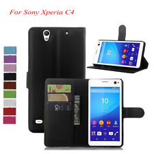 Full Grain Wallet Leather Phone Case Cover for Sony Xperia C4 Dual E5333 E5306