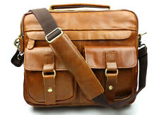 Men's vintage Genuine Leather Handbag  Briefcase Laptop Shoulder Messenger Bag