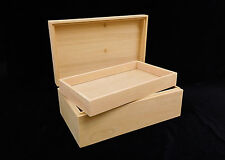 Designcraft Industries Unfinished Wood Box with Hinges & Tray-10 x 6 x 3 3/4