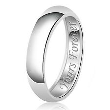 Sterling Silver 925 Solid Couples Yours Forever Wedding Band Promise Ring