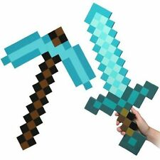Minecraft Large Blue Diamond Sword Pickaxe axe EVA Weapons Plush Doll UK SELLER