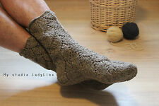 hand knitted organic socks, eco 100% wool undyed socks, womens knit socks