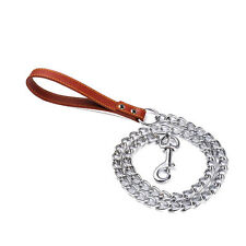 Doggie Pet Leash Puppy Walking Lead Chrome Metal Chain with Leather Handle