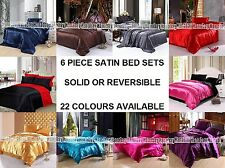 LUXURY 6 PIECE SATIN BEDDING SETS DUVET COVER FITTED SHEET PILLOWCASES FREE P&P