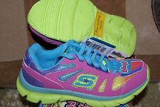 Girls Skechers Sneakers Shoes Lime Pink Glitter New w/box
