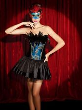 Burlesque Corset Bustier Boned Dress Up Costume Showgirl Vegas  2 pc Black