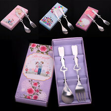 Heart Shaped Stainless Steel Fork Spoon Set Flatware White Gift Box