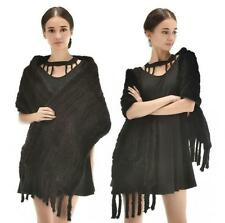 Fashionable Real Knitted Mink Fur Stole Cape Long Shawl Womens Coat Black Shawl