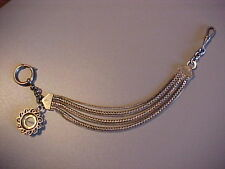 VINTAGE LARGE PRINCE ALBERT STYLE POCKET WATCH CHAIN WITH COMPASS FOB