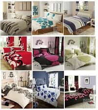 Printed Duvet Cover Fitted Sheet Bedding Set Polycotton Complete Quilt Cover