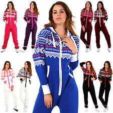 New Womens Ladies Aztec Print Hooded Zip Up Onesie All In One Jumpsuit Playsuit