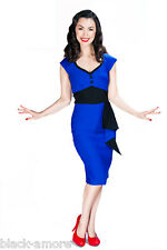 NEW EMERALD BLUE PENCIL WIGGLE DRESS SWEETHEART VINTAGE 50 ROCKABILLY WWII STYLE