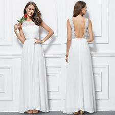 New sexy white lace chiffon long formal evening gown bridesmaids' prom dresses 8