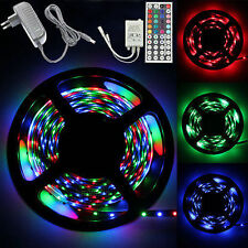 5M 5050 3528 RGB SMD Flexible LED Strip Light 44key Remote 12V 5A Power Adapter