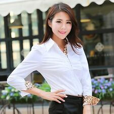 Leopard Collar Bodysuit Blouse Puff Sleeve OL Career Slim White Shirt Top