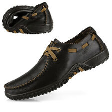 Mens Casual Loafers Plus Size Men Genuine Casual Flat Brand Leather Shoes 38-47