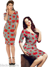 NEW HOUNDSTOOTH CHECK FLORAL POPPY WIGGLE RETRO PENCIL DRESS 50'S VINTAGE PIN UP