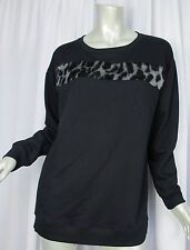 MICHAEL KORS Sweatshirt 11028B Black Faux Fur Animal Print Trim Womens Medium