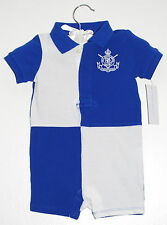 Polo Ralph Lauren Infant Boys Royal Blue Color Block Pique Cotton Romper