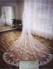 White Ivory Cathedral 1 Tier Wedding Veil Lace Sequin Purfle 3Meter Long + comb