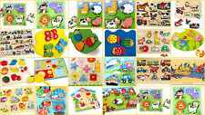 PUZZLES wooden peg jigsaws young children farm animals NEW