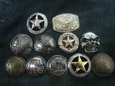 Royal Crest Skull Texas Star Conchos coin Screw back wallet Belt Leathercraft FS
