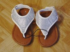 Healthtex Toddler Girls White/Silver Rhinestone Sandals Size 5, 6