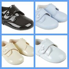 BABY BOYS BAYPODS BOW PRAM SHOES BAY PODS BLUE-CREAM-WHITE PATENT-MATT REBORN