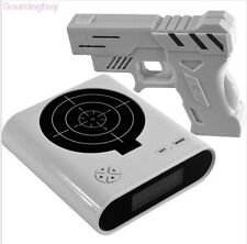 LCD Alarm Desk Clock Gadget Laser Target Gun Game Shooting Toys Gift Black White