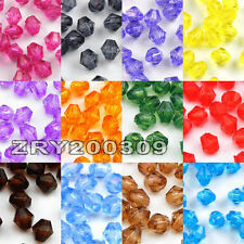 1000Pcs 4mm Bicone Faceted Acrylic Spacer Beads 13Color Or Mixed R0094