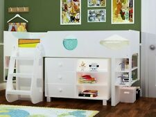 Ollie White Storage Cabin Bed - White Midsleeper Bed- 2 FREE PILLOWS