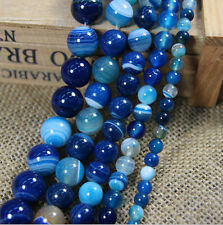 HOT Natural Blue Striped Agate Round Gemstone Loose Spacer Beads 4/6/8/10/12mm