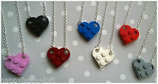 Funky Lego Heart Necklace Pendant Kawaii Cute Kitsch Emo Retro Christmas Gift