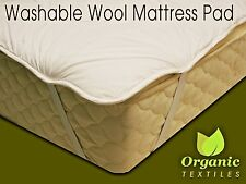 Natural Wool Mattress Pad w/ Organic Cotton Cover - ALL SIZES | Organic Textiles