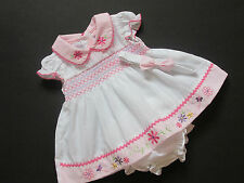 Girls White Smocked Embroidered Dress Knickers Headband Set 0/3 ,3/6 6/9 Months