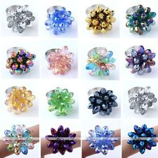 1pc Faceted Crystal Glass Flower Bead Adjustable Party Finger Ring Dazzling